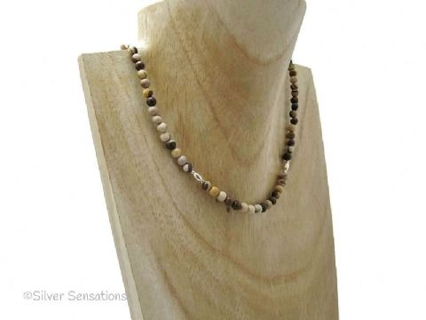 Dainty Brown & Cream Zebra Jasper & Sterling Silver Necklace